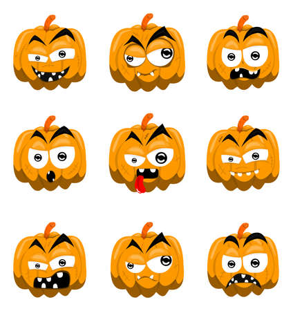 Cartoon halloween pumpkins Stock Vector - 9682383