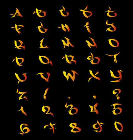 Flaming letras, n�meros, s�mbolos