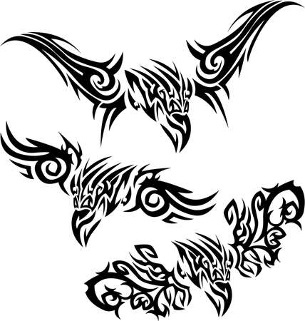 tribalism: Tattoos birds of prey Illustration