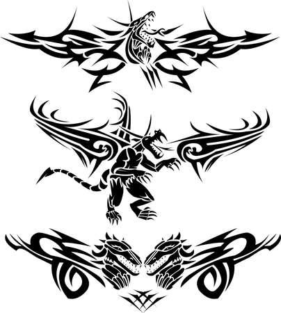 Tattoos dragons Stock Vector - 9682375