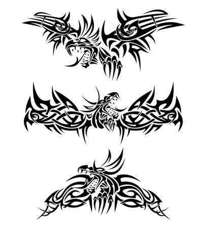 tribalism: Tattoos dragons Illustration
