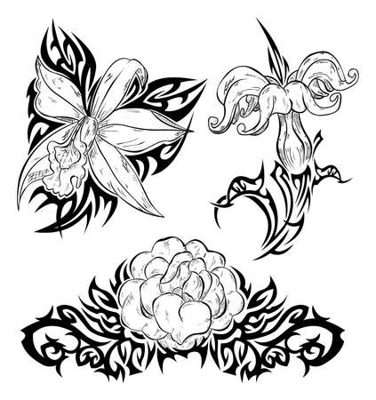 Tattoo with flowers Vector
