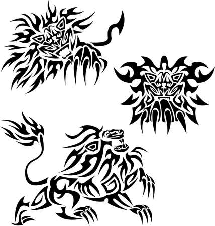 Tribal lions Stock Vector - 9682376