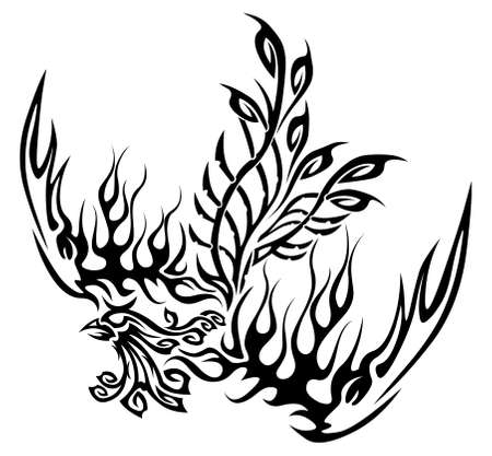 tribalism: Tattoo with phoenix