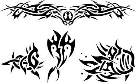 Abstract tattoos sea animals Vector