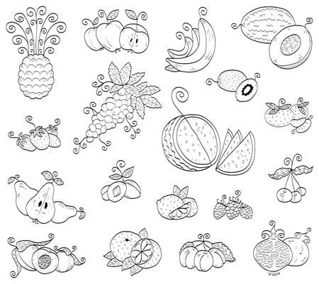 ananas: Doodle fruits, berries