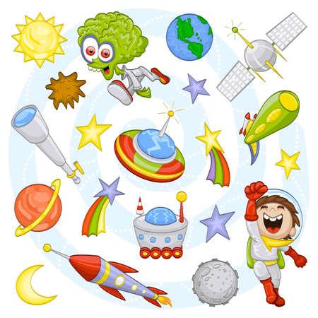 Conjunto de dibujos animados espacio ultraterrestre Vectores
