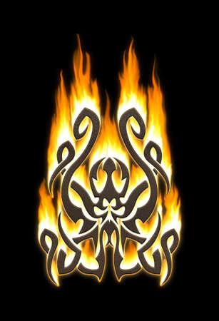 Flaming tribal octopus photo
