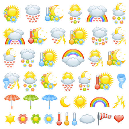 cartoon rainbow: Love weather icons for valentine�s day Illustration