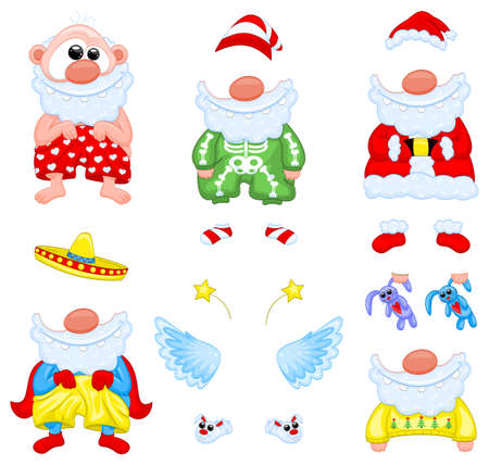 Cartoon Santa Claus, clothes, boots and accessories Vector