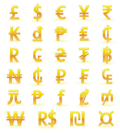 S�mbolos de moneda de oro Vectores