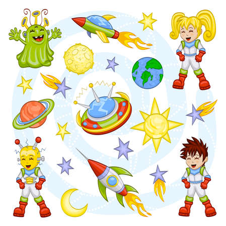Cartoon conjunto el espacio exterior