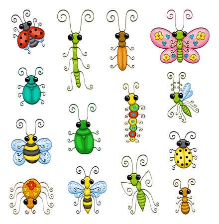 만화 곤충 일러스트