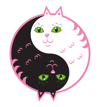 Cute cats yin yang Vector