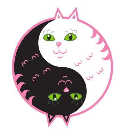 yin y yang: Lindo gatos yin yang Vectores