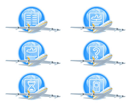 the delayed: Set of icons to show flight status. Contains icons for status:  scheduled (on schedule), landed, expected (estimated), delayed for unknown reason, delayed, contact airline. Illustration