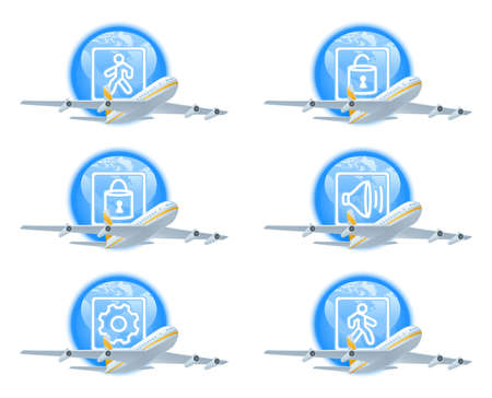 delay: Set of icons to show flight status. Contains icons for status: landing, gate open, gate closed, last call to boarding, technical delay, boarding.