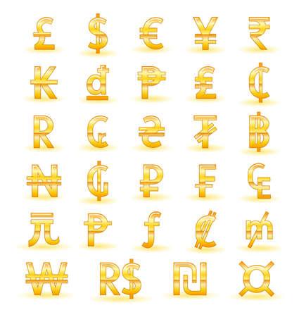 世界の黄金の通貨記号