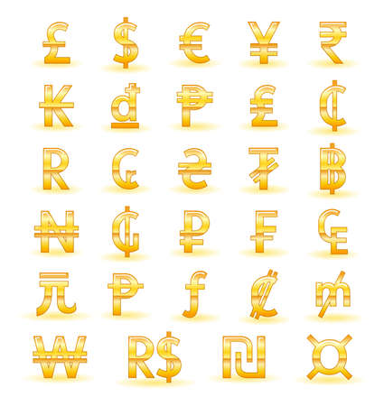 Golden currency symbols of the world Vector