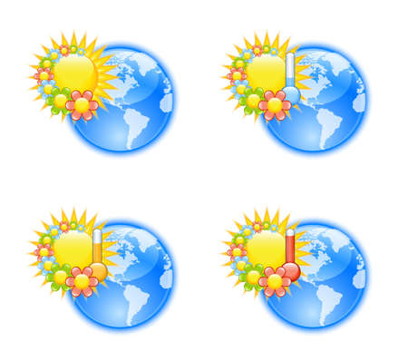 Cute weather icons with flowers Vector