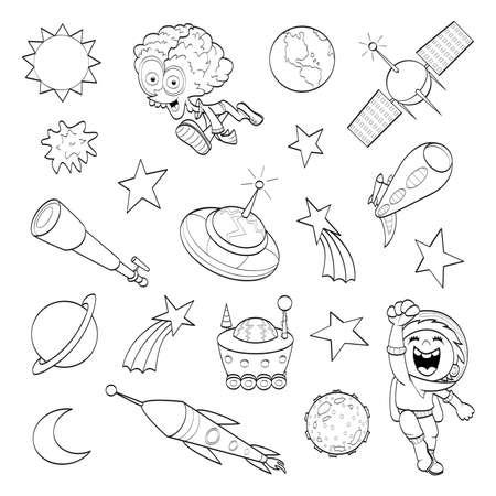 Cartoon conjunto del espacio exterior de libro para colorear Vectores
