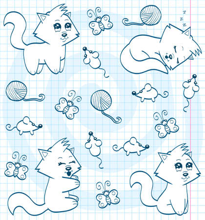 Cute cartoon cats  coloring book  Vector