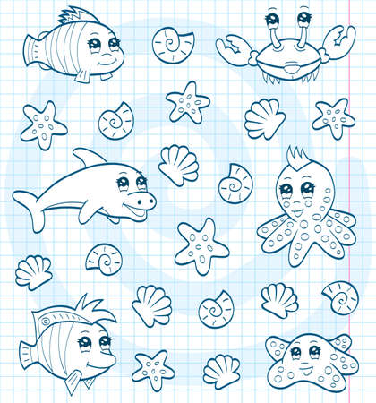 Cute sea animals  coloring book  Vector
