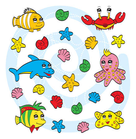 Cute sea animals Vector