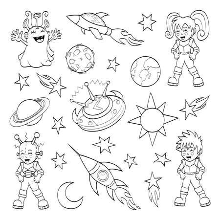 Cartoon espacio establecido externa libro para colorear Vectores