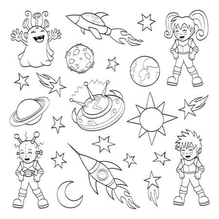 Cartoon outer space set  coloring book  Vector