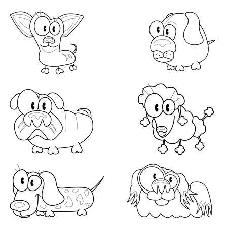 Collection of cartoon dogs Vector