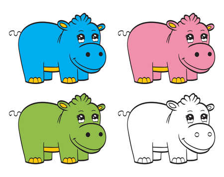 Cute cartoon baby hippo Vector