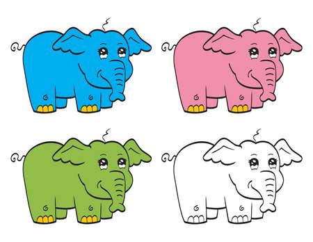 animals outline: Cute cartoon elephant