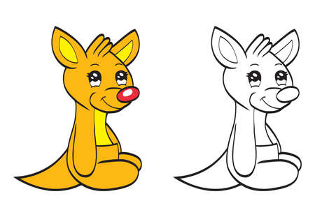 Cute cartoon baby kangaroo Vector