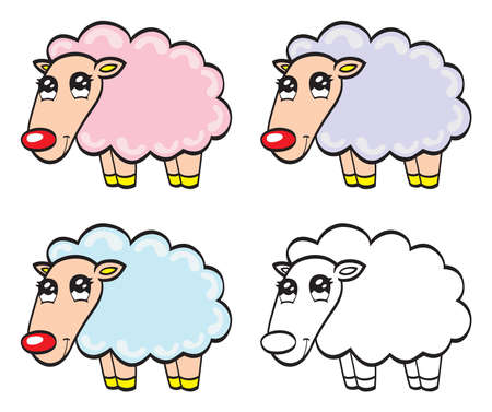Cute cartoon baby sheep Vector