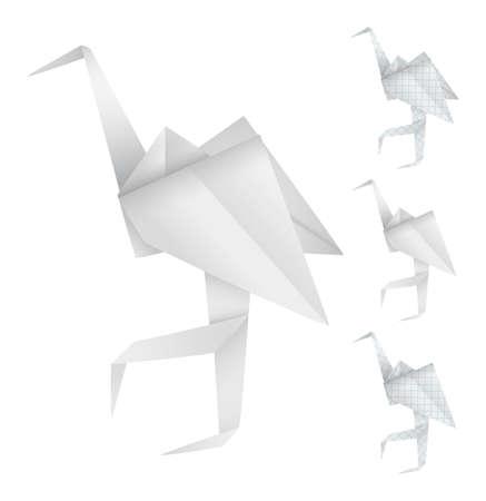 egret: Origami birds  Illustration