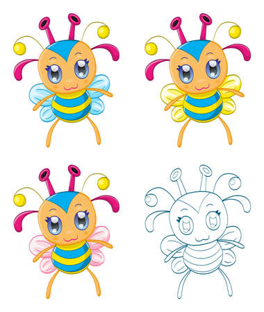 Cartoon chibi fantasy creatures  monsters  Vector