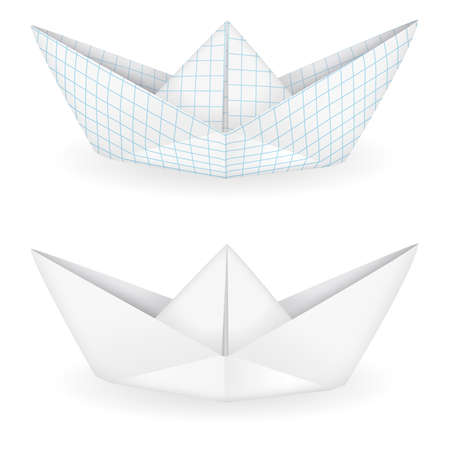 ruled paper: Origami ships