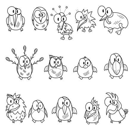 Collection of cartoon birds Stock Vector - 19418758