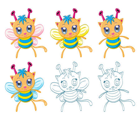 Cartoon chibi fantasy creatures (monsters) Vector