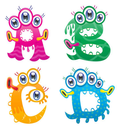 creepy alien: Cartoon monster letters from A to D