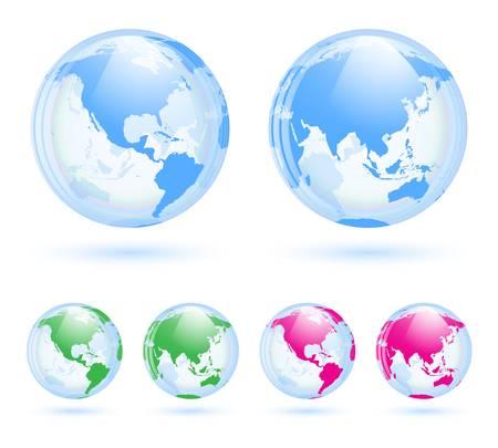 weltkugel asien: Globen Erde gesetzt Illustration