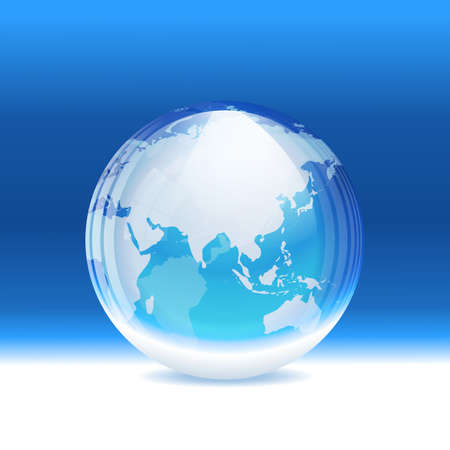 south asia: transparent snow globe with map