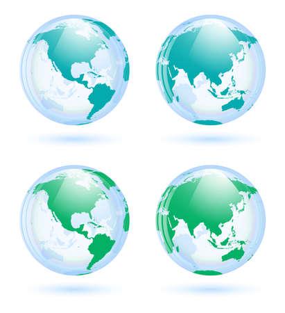 Earth globes set Stock Vector - 20763479