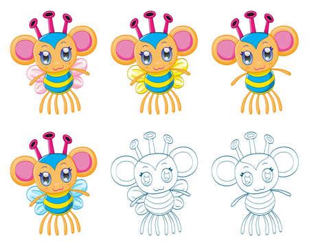 chibi: Cartoon chibi fantasy creatures  Illustration