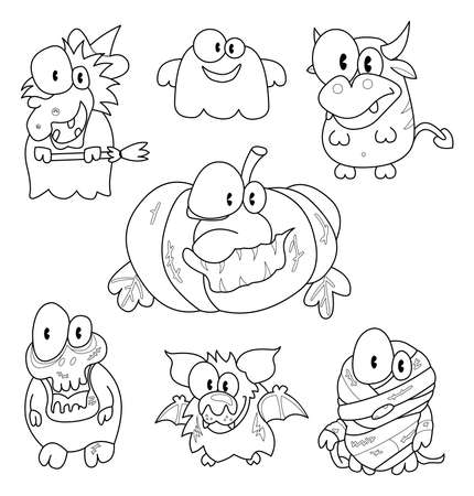 Collection of halloween creatures Vector