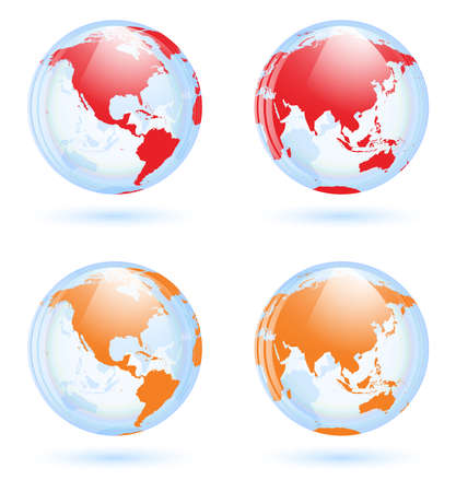 south east: Earth globes set