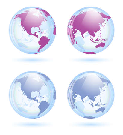 Earth globes set Stock Vector - 21070910