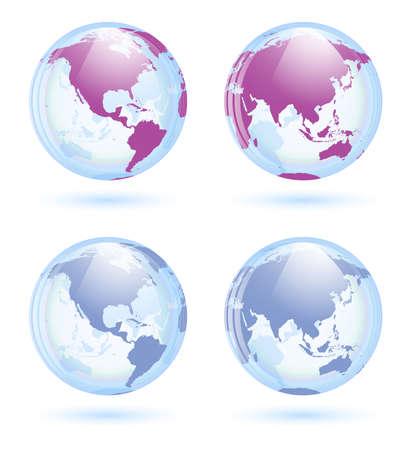 transparent globe: Earth globes set