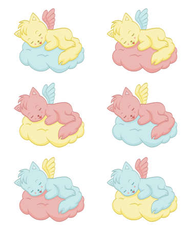 Cute sleeping angel-cats Vector